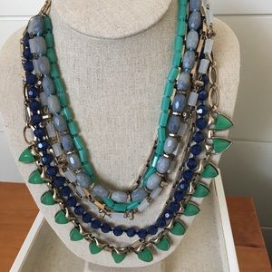 Stella Dot Sutton Tone Necklace Blue Greens